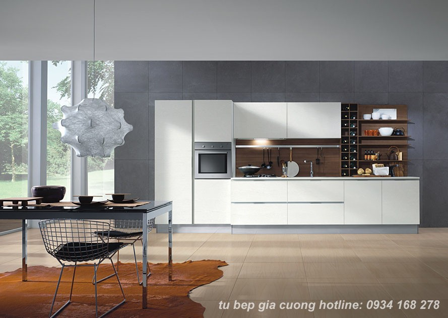 Tủ bếp Acrylic  màu trắng PARC 01
