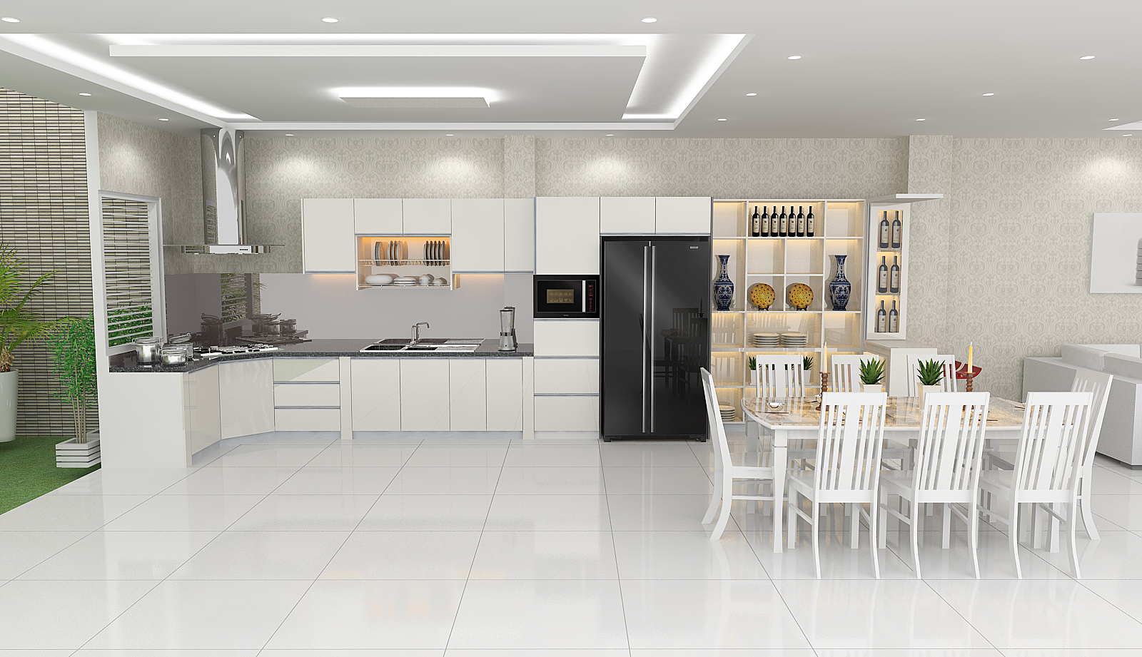 Tủ bếp chữ L HDF + ARC 01