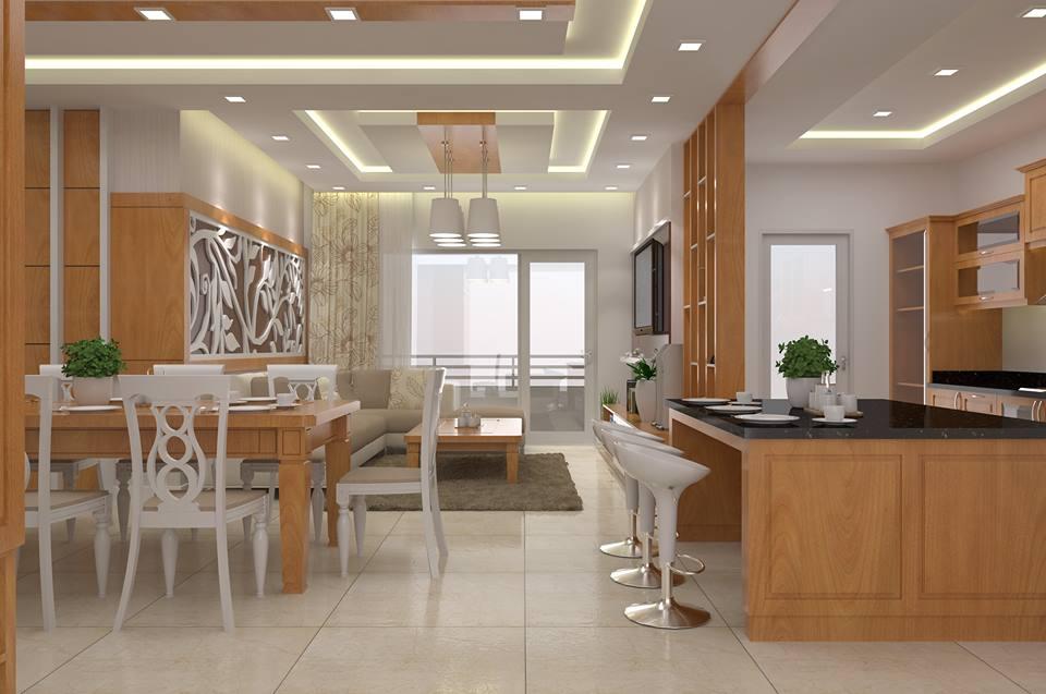 Nội thất phòng khách, đảo bếp, tủ bếp HDF Veneer sồi