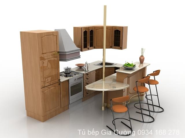 Tủ bếp gỗ Ask mini dành cho căn hộ có diện tích nhỏ