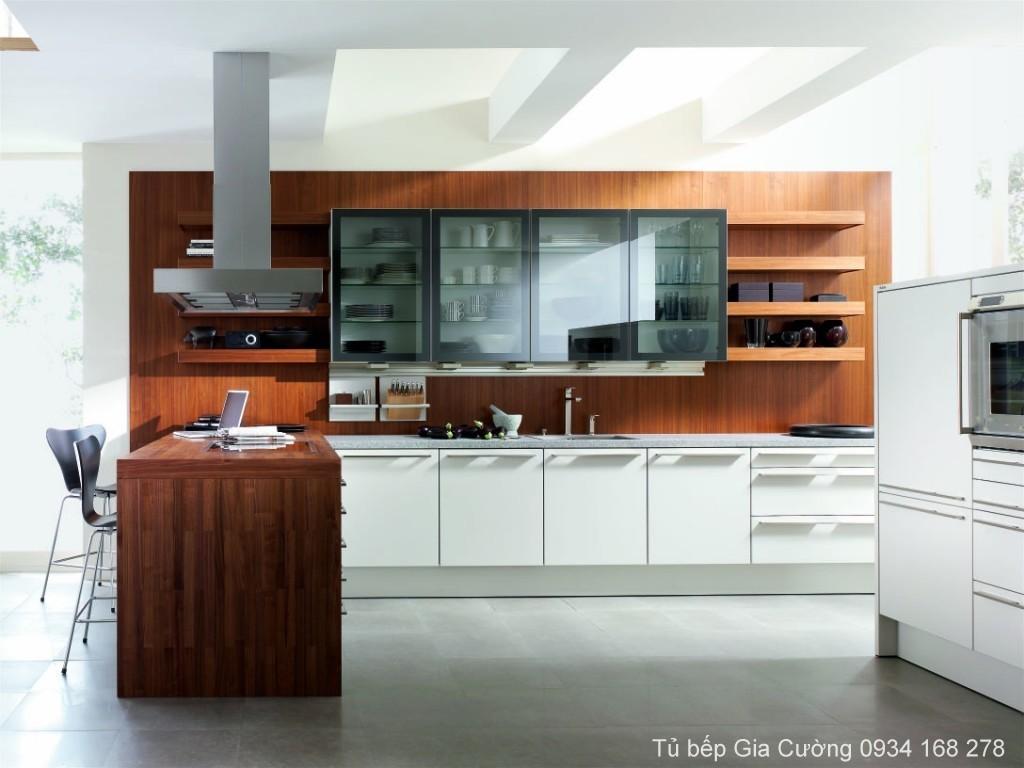 Tủ bếp chữ I MFC vân gỗ 335