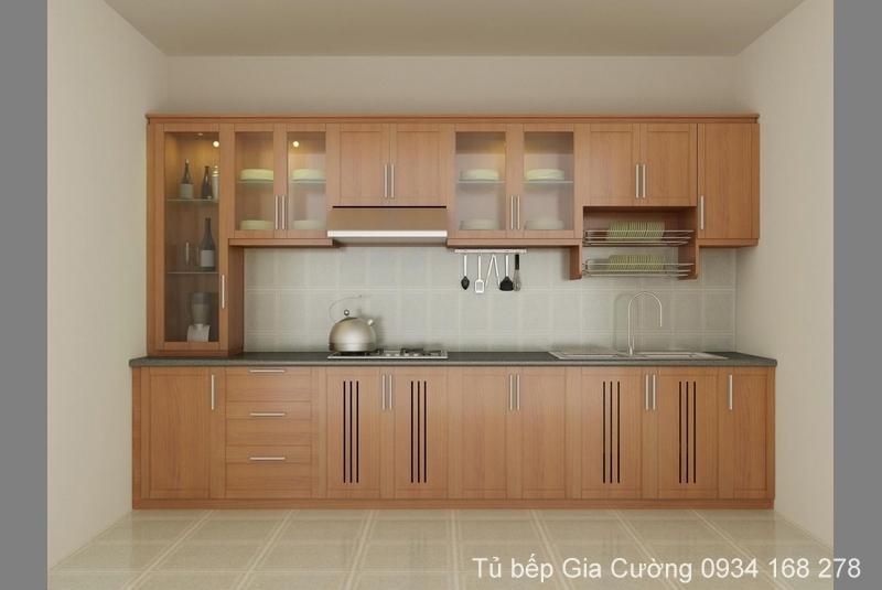 Tủ bếp gỗ sồi thiết kế đơn giản
