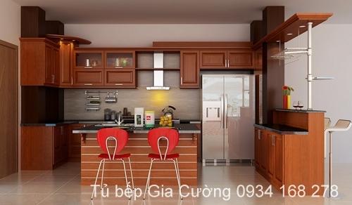 Tủ bếp, quầy ba gỗ Xoan đào