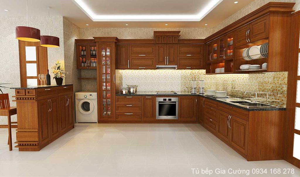 Tủ bếp gỗ căm xe cổ điển