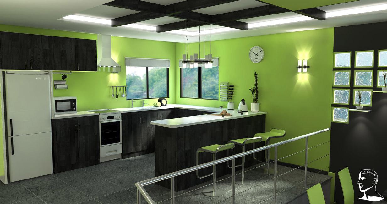 Nội thất bếp màu xanh tươi mát