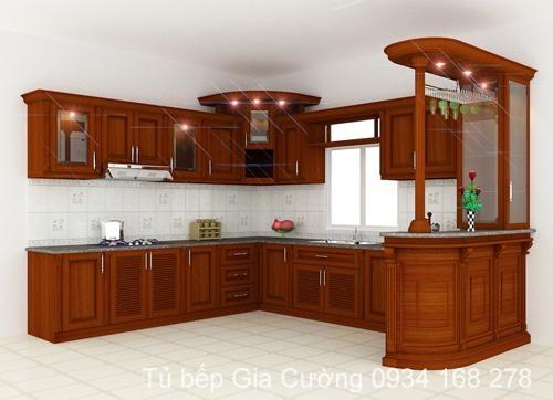 Tủ bếp, quầy ba gỗ căm xe phong cách cổ điển