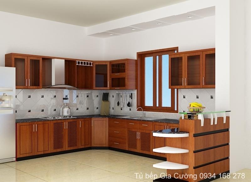 Tủ bếp gỗ Xoan đào phong cách hiện đại