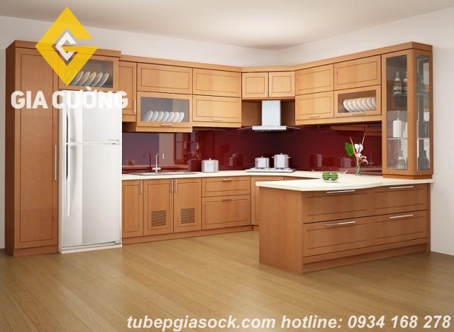 Tủ bếp gỗ sồi chữ U