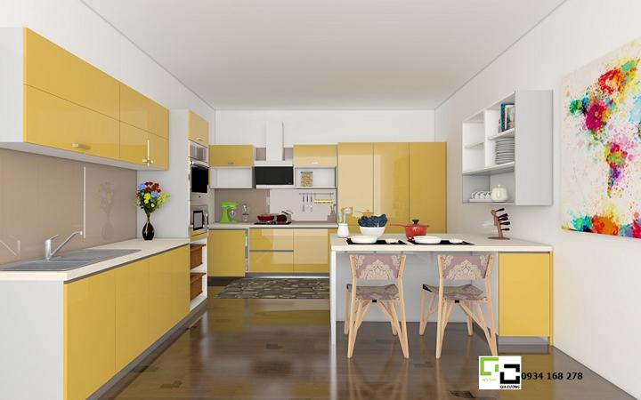 Tủ bếp acrylic  gam màu hiện đại