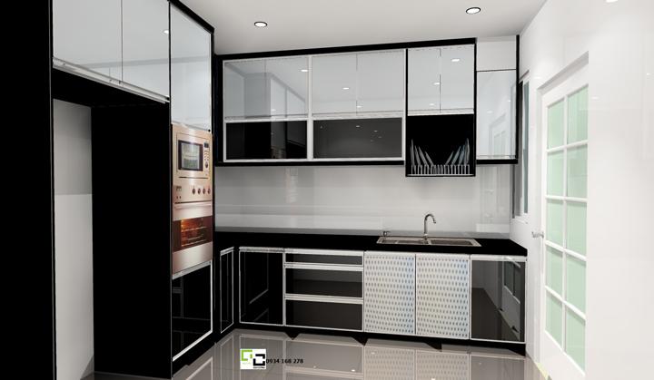 Tủ bếp acrylic hiện đại 60