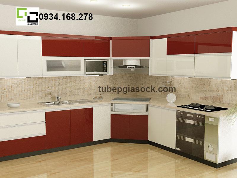 Tủ bếp Acrylic đỏ tươi phối trắng 01 + 04