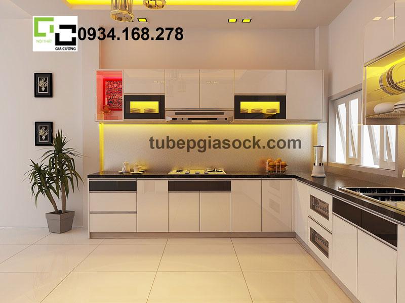 Tủ bếp acrylic chữ L PARC 11 + 16