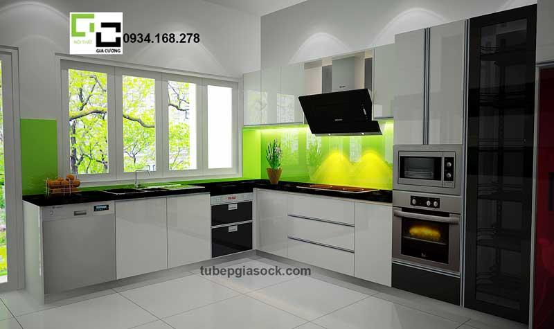Tủ bếp Acrylic màu trắng phối điểm nhấn màu đen