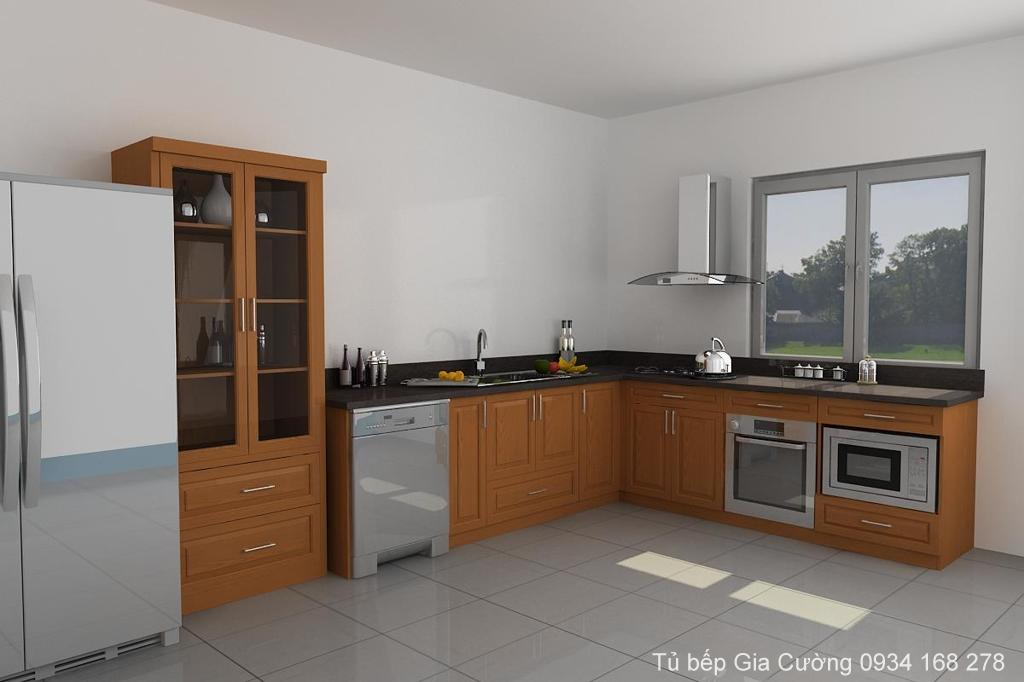Tủ bếp gỗ tự nhiên đơn giản và tiết kiệm