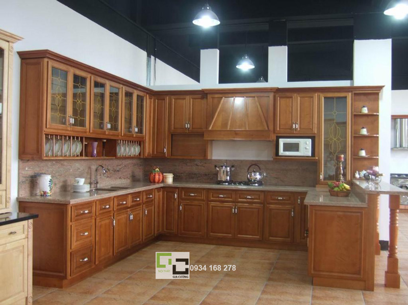 Tủ bếp gỗ sồi 02