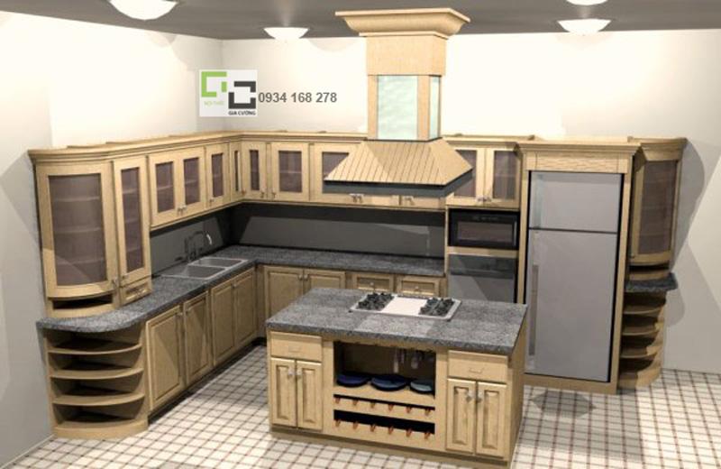 Tủ bếp gỗ xoan đào 04