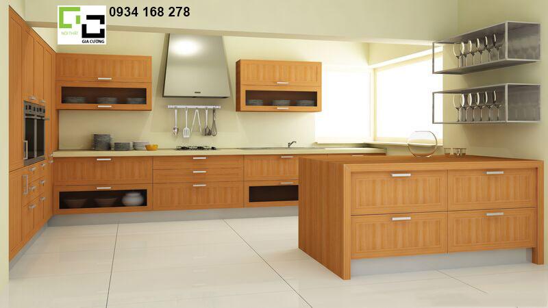 Tủ bếp hiện đai- veneer vân gỗ
