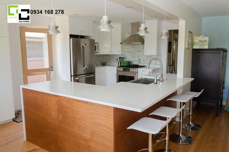 Tủ bếp gỗ veneer hiện đại