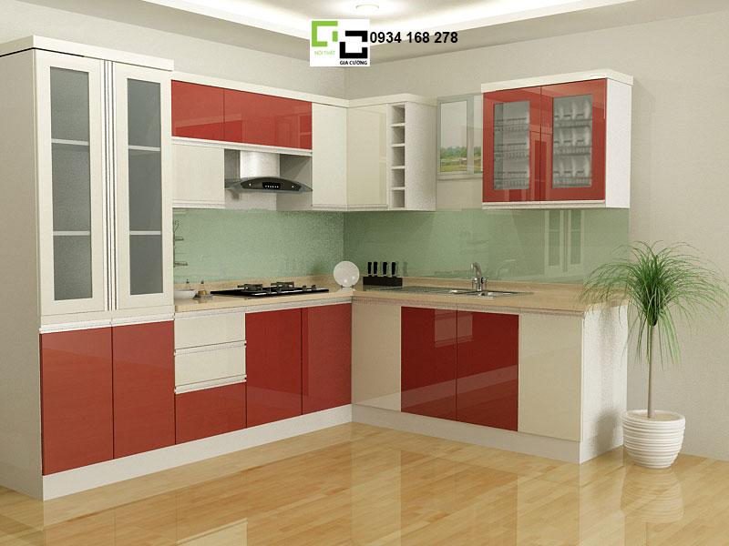 Tủ bếp acrylic hiện đại nhà chị thu