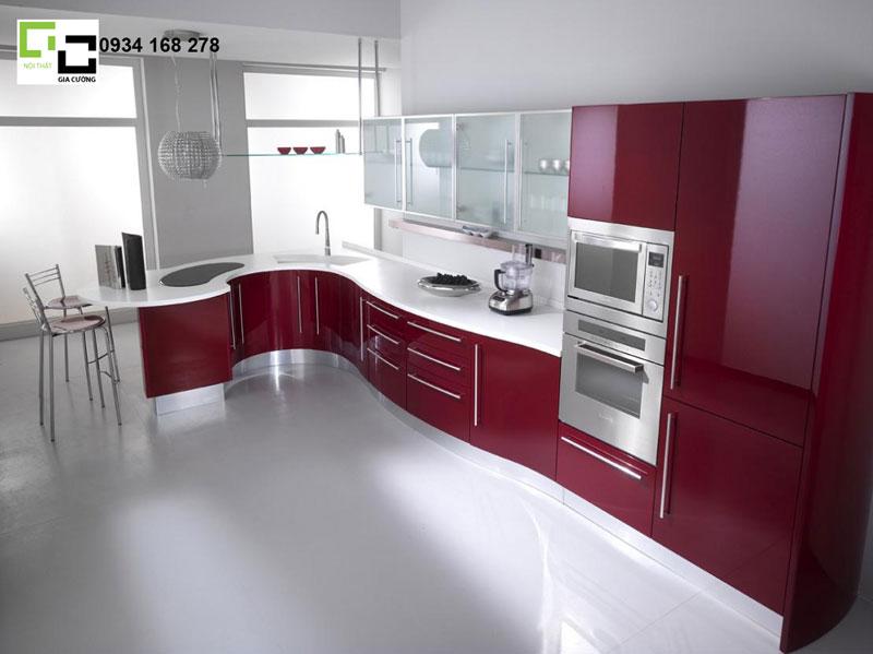 Tủ bếp acrylic hiện đại kiểu dáng độc đáo