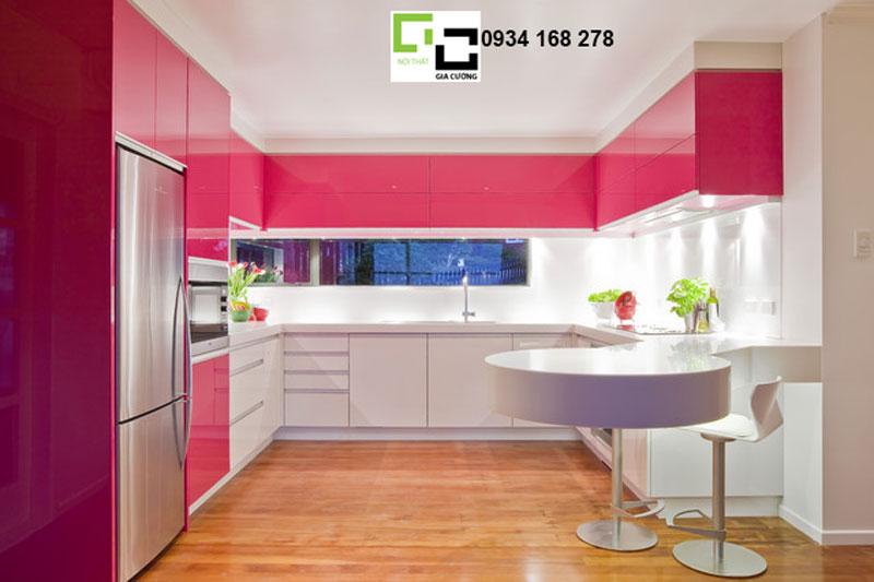 Tủ bếp acrylic hiện đại hồng + trắng