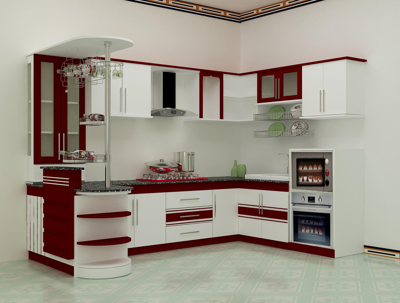 tủ bếp Laminate kingdom phối trắng và đỏ
