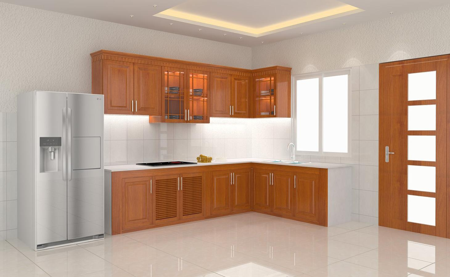 Tủ bếp gỗ xoan đào chứ L ngắn