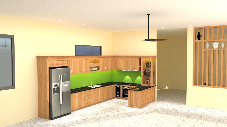tủ bếp gỗ sồi mỹ chị duyên thủ dầu một